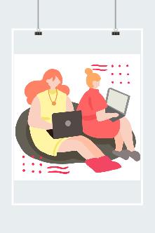 创意工作中的女孩插画