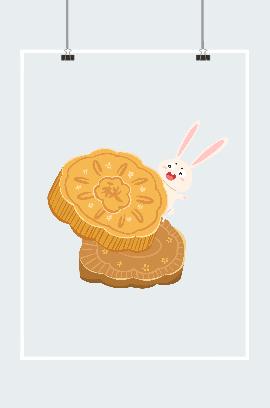 卡通动漫中秋月饼插画素材