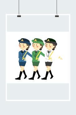 中国女军人插画
