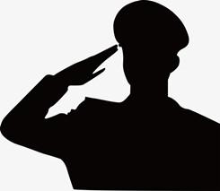 八一军人敬礼背影矢量图