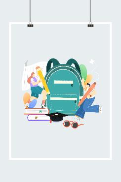 现代男女学生创意插画