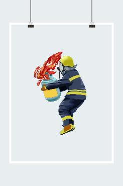 消防员救火插画
