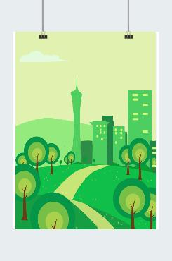 环保背景森林城市图片