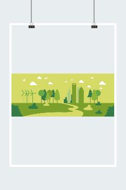 环保背景绿色城市背景图