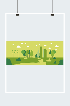 环保背景绿色城市创意插画