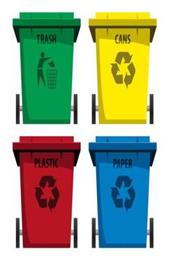 4个垃圾桶的简笔画图片