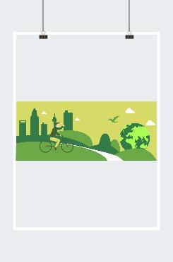 绿色城市骑单车图片素材