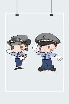 卡通男女警察组合插画
