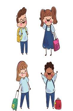 新学期可爱返校学生插画