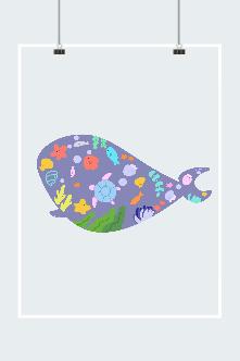 卡通鲸鱼矢量图