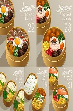 便当盒里的日式料理图