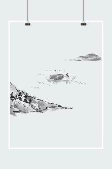 黑白水墨风景插画