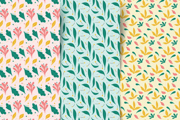 彩色树叶无缝背景矢量素材