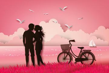 情侣亲吻剪影矢量素材