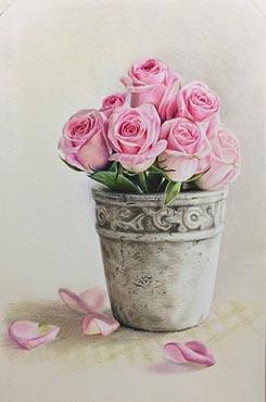 手绘线描玫瑰花矢量图