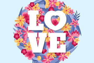 创意花卉装饰爱的艺术字矢量图