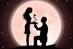 浪漫情侣求婚插画图片