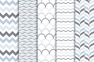 5款创意曲线无缝背景矢量图