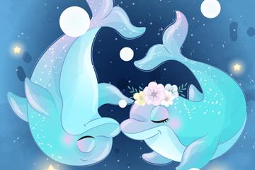 蓝色海豚情侣矢量素材