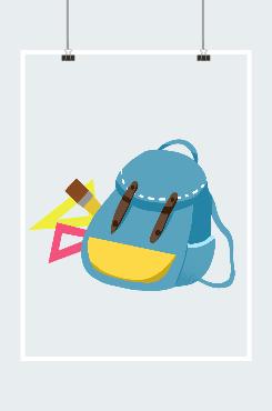 蓝色书包插画设计图片