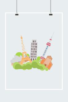 欧洲标志性建筑矢量图
