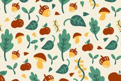 卡通蘑菇与绿叶无缝背景矢量素材