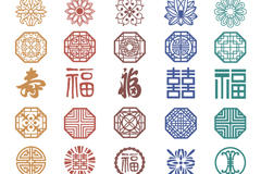 中式花纹矢量图
