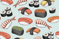 日本料理卡通图案无缝背景