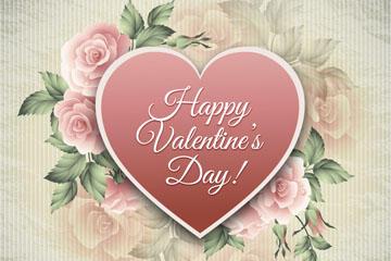 玫瑰花和爱心矢量图