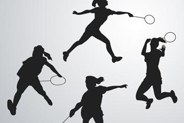 羽毛球运动员剪影矢量图
