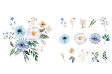 水彩手绘花卉矢量素材