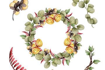 节日树叶和花环矢量素材