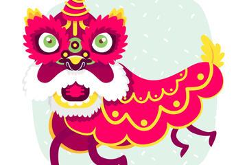 中国风舞狮插画