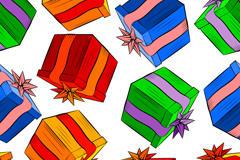 彩绘礼盒无缝背景矢量素材