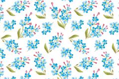 蓝色水彩花卉无缝背景