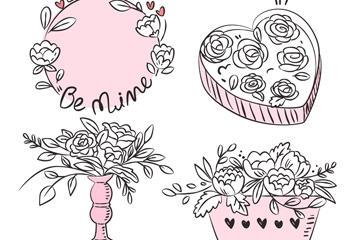 手绘情人节玫瑰花矢量图