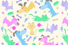卡通猫和狗无缝背景矢量素材
