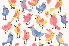 卡通小鸟无缝背景矢量素材