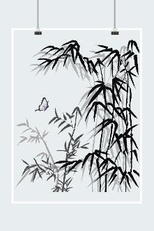 古风墨竹插画