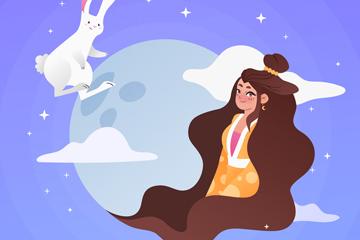 中秋节白兔和嫦娥矢量素材