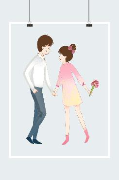 七夕节情侣插画图片