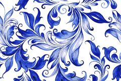 蓝色水彩花蔓无缝背景