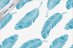蓝色彩绘羽毛无缝背景