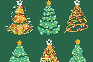 圣诞节装饰松树矢量图