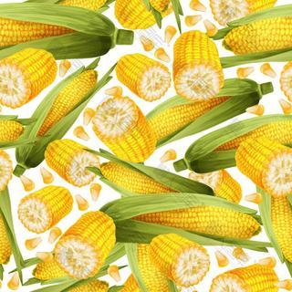 水果玉米无缝背景矢量素材