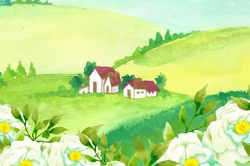 郊外白色山茶花风景矢量图