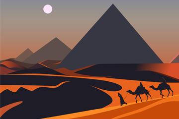 美丽沙漠夜晚风景图