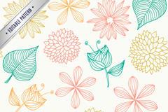 彩绘花朵树叶无缝背景