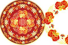 中国风圆形花纹素材