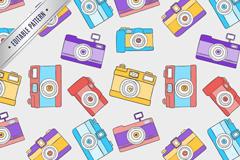 彩色卡通照相机无缝背景矢量素材